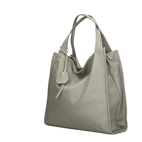 Aren en pour bandoulière italie fabriqué femme 40x36x10 Cm à en Gris cuir sac véritable zrzqSwtxU