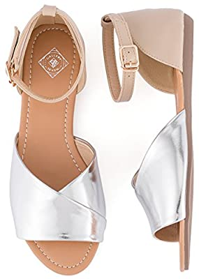 Gallery Seven Open Toe Flats Shoes - Ankle Strap Peep Toe Dress Sandals - Quick Release Buckle