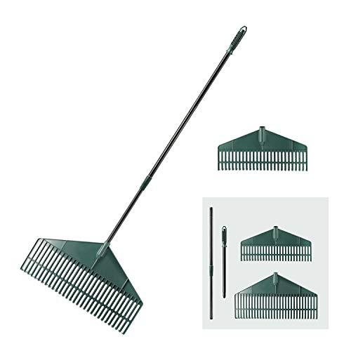 ORIENTOOLS Garden Leaf Rake with 2 Plastic Head (30T&26T), Adjustable Black Steel Handle Landscape Rake, (30T Rake: from 55 to 69 inches, 26T rake: from 43 to 59 inches)