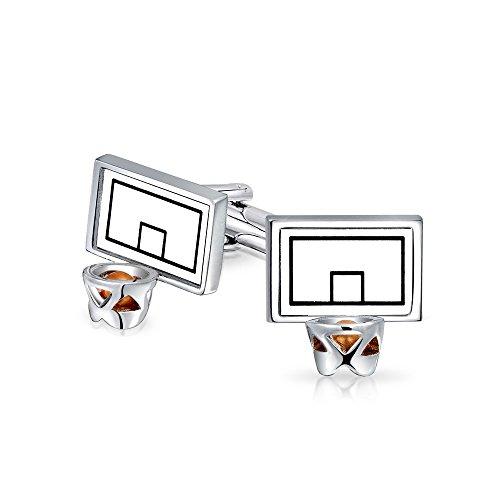 - Bling Jewelry Basketball Backboard Hoop Sports Coach Cufflinks for Men Shirt Cuff Links Hinge Back Silver Tone Stainless Steel Enamel