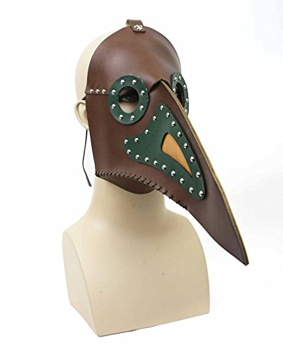 Men's Faux Leather Plague Doctor Steampunk Mask (Black with Brown)