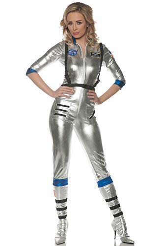 Underwraps Women's Sexy Astronaut Costume-Orbit, Silver Medium ()