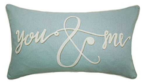 Balmont Collection You and Me Script Accent Pillow, 14'' x 24'', Light Blue by Balmont Collection