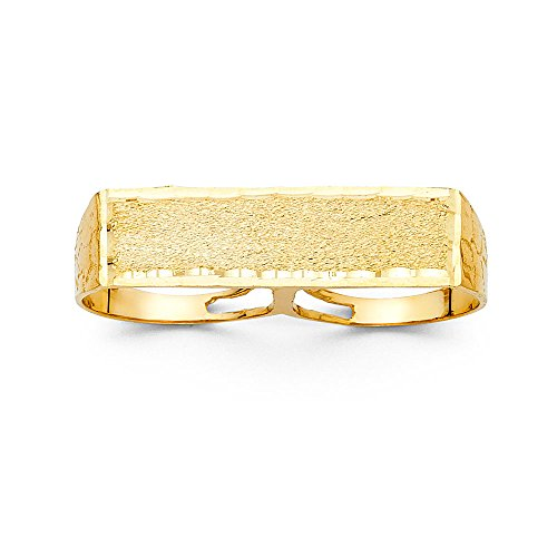 Jewels By Lux 14K Yellow Gold 2 Finger Mens Fashion Anniversary Ring Size 9.5