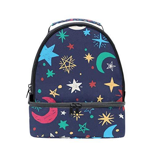 bandoulière Lune pour lunch à Pincnic l'école boîte Sac Alinlo avec isotherme Motif étoiles à réglable avec Cooler Tote ARWpxn7Eq