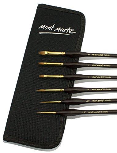 MONT MARTE Kolinsky Paint Brush Set - 6 pce in elegant Black Wallet - Finest Premium Quality Sable Paintbrushes - Ideal for Watercolor, Oil paint, Acrylic paint - For Beginners, Professionals, Artists