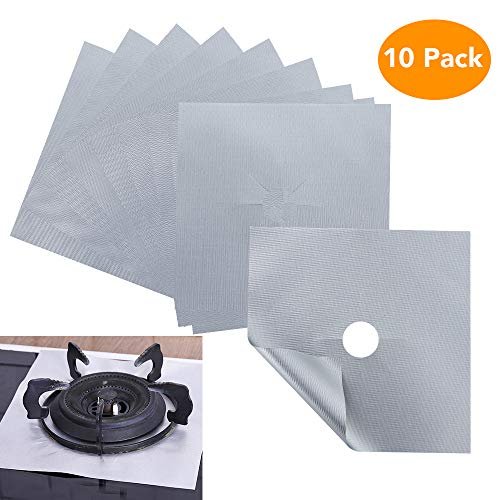 Cupidkiss 10 Pack Stove Burner Covers, Nonstick Gas Stove Burner Liners Gas Range Protectors, Stovetop Covers for Gas Burners Double Thickness Easy Clean for Kitchen (Silver)