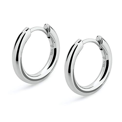(KRKC&CO Hoop Earrings, S925 Sterling Silver Gold Plated White Gold Plated Round Hoop Earrings for Men & Women 12-15 mm (White Gold, 15))