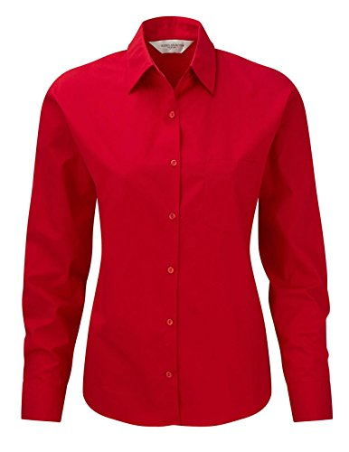 Russell Collection Ladies Long Sleeve Easy Care Cotton® plin Shirt XXL Classic Red