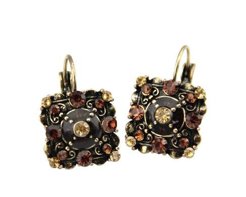 New Fashion Women Accessories Vintage Square-shaped Crystal Rhinestones Statement Clip Earrings Jewelry D32887{brown}