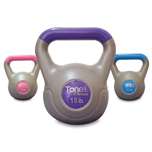 Tone Fitness Vinyl Kettlebell Set, 30-Pound