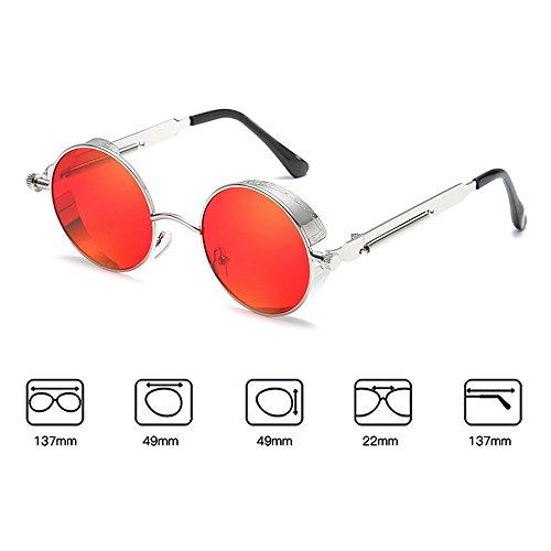 de Retro Mujer Gafas Gafas Recubrimiento Metal sol Steampunk Vintage Lentes sol Ronda Hombres Shades Gafas de C19 Mxssi W6fwzq0z