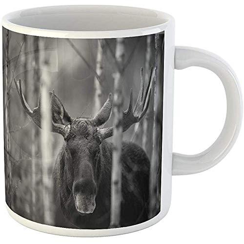 880 Elk - 11oz Coffee Mugs Tea Cups Gifts Mammal Bull Moose Alces Portrait of Elk North America Eurasian Ceramic Coffee Mugs Tea Cup Souvenir