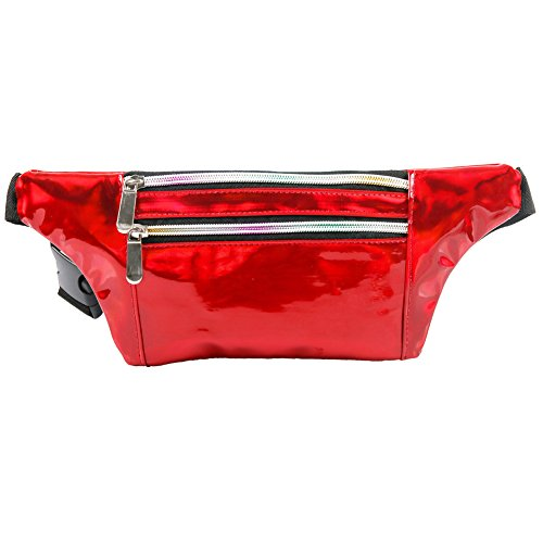 MUM'S MEMORY Metallic Hologram Fanny Pack for Women and Men- Sport Waist Pack for Running, Hiking, Traveling, Camping, Partying, Jogging (Red) from MUM'S MEMORY