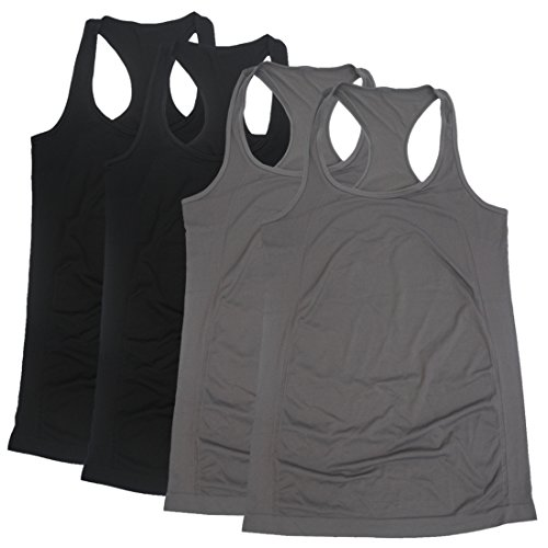 (BollyQueena Extra Long Tank Tops, Women's 4 Packs Workout Camisole Sports Racer-Back Black and Grey)