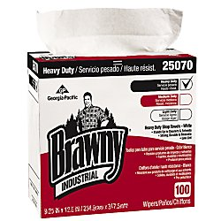 Brawny Industrial GEP25070 Heavy Duty Shop Towels Cloth 9-1/8 x 16-1/2'' 100/Box, White