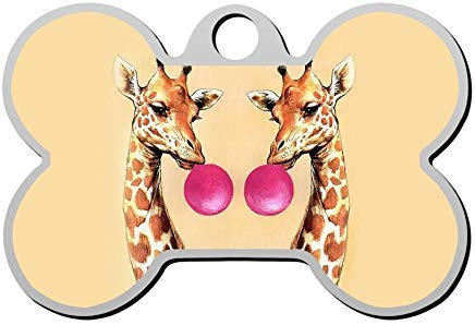 - Bubble Gum Giraffe Pet Id Tag Personalized for Dog Cats Double Sided Dog Tag Custom Pet Identification Tag Bone Pet Tag for Dog Lover Gifts