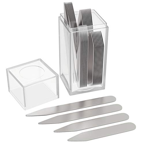36 Stainless Steel Metal Collar Stays for Mens Shirt in a Clear Plastic Box - 4 Sizes