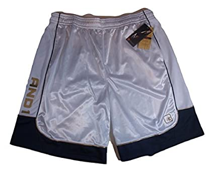 914351b86b003 AND1 Mens Basketball Athletic Shorts in White and Grey