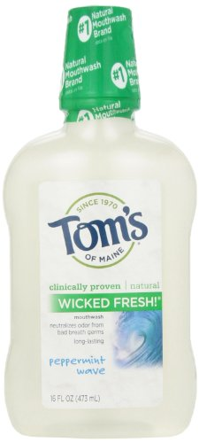 Tom's of Maine Natural Wicked Fresh! Mouthwash, Peppermint Wave, 16 Ounce (Mouthwash Peppermint)
