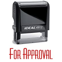 FOR APPROVAL Red Office Stock Self-Inking Rubber Stamp