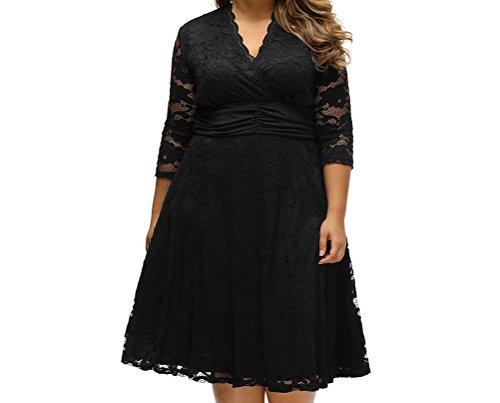 YeeATZ Black Plus Surplice Neck Ruched Waist Floral Lace Swing Dress(Size,2XL)