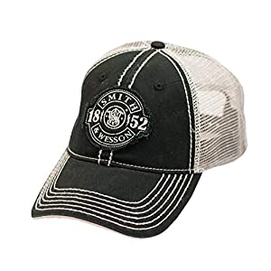 S&W Distressed 1852 Patch Logo Black Mesh Back Cap – Officially Licensed