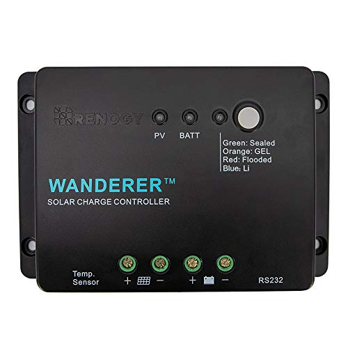 - Renogy Wanderer Li 30A 12V PWM Negative Ground Charge Controller Compatible with Lithium, Sealed, Gel, and Flooded batteries and Renogy Bluetooth Module
