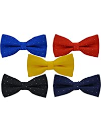 5 Pcs Heymei Men's/Boy's Ajustable Pre-Tied Formal Necktie Bow Tie Jacquard Dots B5 (5 Colors Red Blue Yellow Black Dark Blue)