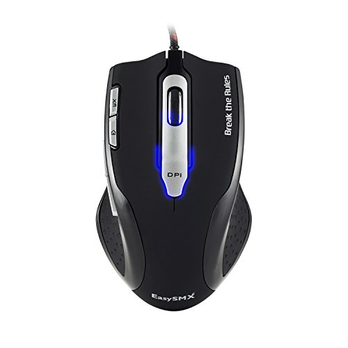 EasySMX Laser Gaming Mouse 8200 DPI 1000Hz Polling Rate with Rubber Side Grip/ Macro configuration/ 7 Programmable Buttons/ Weight Tuning Set for PC Gamer