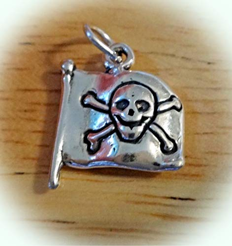 Rhinestone Crossbones Skull Pirate - Sterling Silver 18x14mm Pirate Flag with Skull & Crossbones Charm Vintage Crafting Pendant Jewelry Making Supplies - DIY for Necklace Bracelet Accessories by CharmingSS