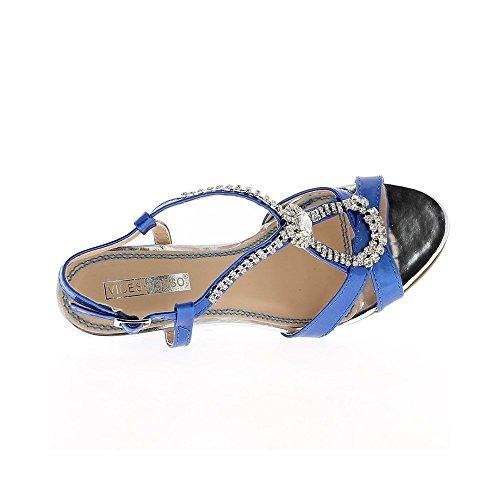 Azul de 9,5 cm con sandalias de tacón de diamantes de imitación