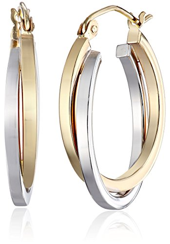 14k Gold Two-Tone 3.8mm Twisted Hoop Earrings