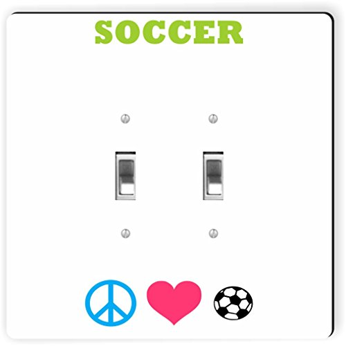 Rikki Knight 41556 Double Toggle Peace Love Soccer Design Light Switch Plate by Rikki Knight