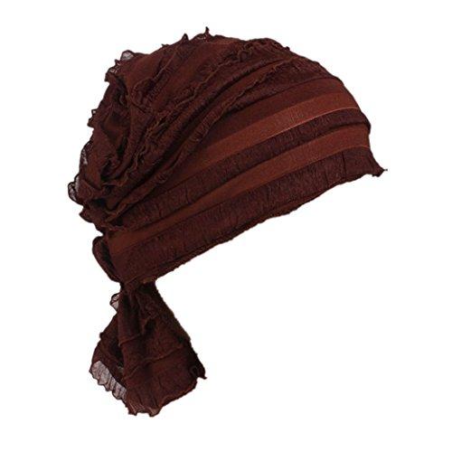 [Hot Sale! Cliror 2017 Women's Summer Chiffon Ruffle Chemo Hat Beanie Scarf, Turban Headwear Head Scarf (Palm Red)] (Solar Panels Costume)