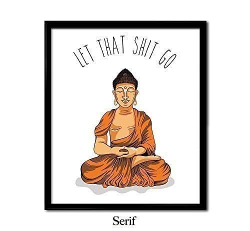Meditating Buddha, Let That Shit Go, ORANGE ILLUSTRATION, yoga poster, meditating, meditating Buddha, Zen, calm, wall art, decor, home, funny, zen art
