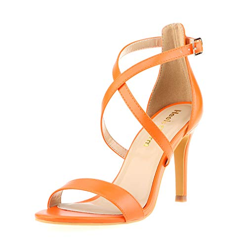 Women's Stiletto Open Toe Cross Strappy Heeled Sandals Ankle Strap High Heels 3.35 Inches Dress Party Wedding Work Daily Shoes Orange Size 8]()