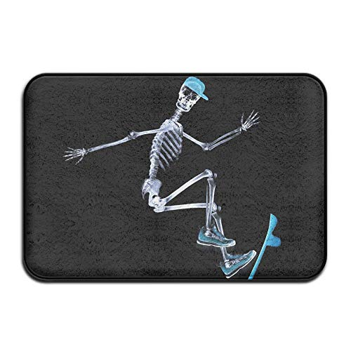 TONICCN Non-Slip Doormat Halloween Skeleton Using Skateboard Welcome Mat 30x18 Inch]()