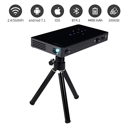 Prechen Mini Portable Projector, WiFi Bluetooth Projector Pico DLP Video USB HDMI Projector Built-in Battery Speaker Support HD 1080P Projector Compatible with PC, iPhone Smartphone, Home Theater