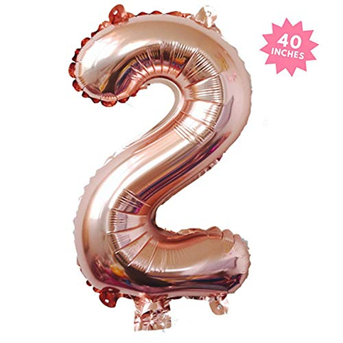 40 Inch Rose Gold Jumbo Digital 2 Number Balloons Huge Giant Balloons Foil Mylar Number Balloons For Birthday Party,Wedding, Bridal Shower Engagement Photo Shoot, Anniversary (Rose Gold,Number -