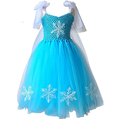 CQDY Elsa Princess Dress, Sleeveless Frozen Snow Girl Party Dress Tutu ()