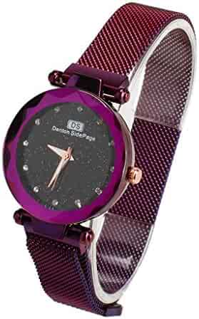 Valentine's Day Gifts-Ladies Fashion Wrist Watch Casual Crystal Quartz Star Dial Watch with Purple Magnetic mesh Belt(Purple)