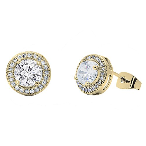 Cate & Chloe Mariah 18k Gold Plated Round Cut CZ Halo Stud Earrings, Sparkling Cluster Stud Earring Set w/Solitaire Round Cut Gemstone, Wedding Anniversary Jewelry MSRP - 150 (Yellow Gold) from Cate & Chloe