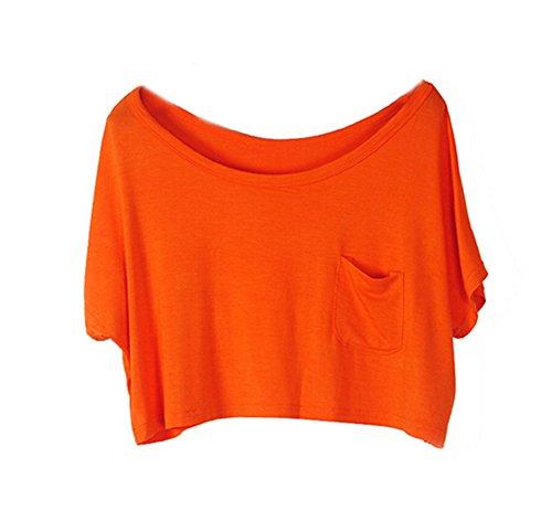 Estate Superiori Donne delle Camicetta delle Parti Allentato Arancia T Crop Manica DELEY Corta Shirt txBqzxH