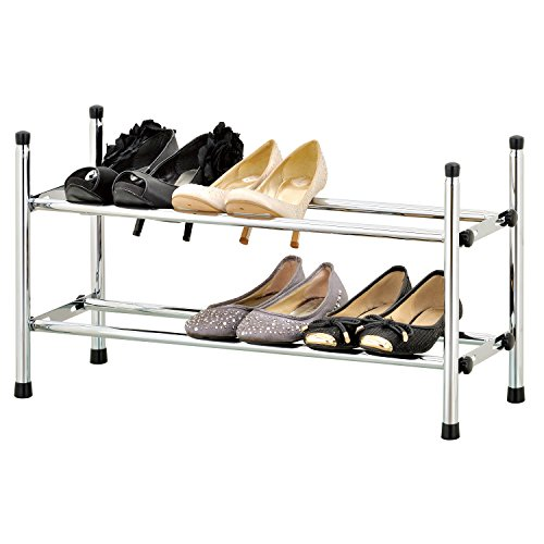 - MyGift 2 Tier Stackable Expandable Shoe Rack, Shoe Tower Storage Organizer, Chrome Plated