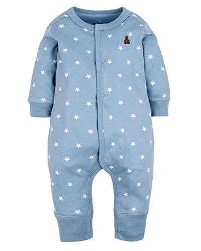 Kidsform Infant Baby Cotton Print Footless Romper Pajamas Outfits Bodysuits Playsuits Blue 12-18M