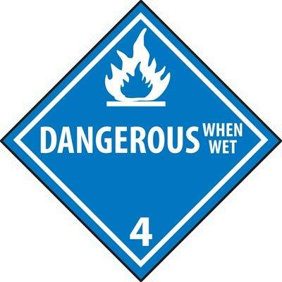 Dangerous When Wet 4 DOT Hazardous Vehicle Placard, Rigid Plastic (20 Pack) (Placards Vehicle Vehicle)