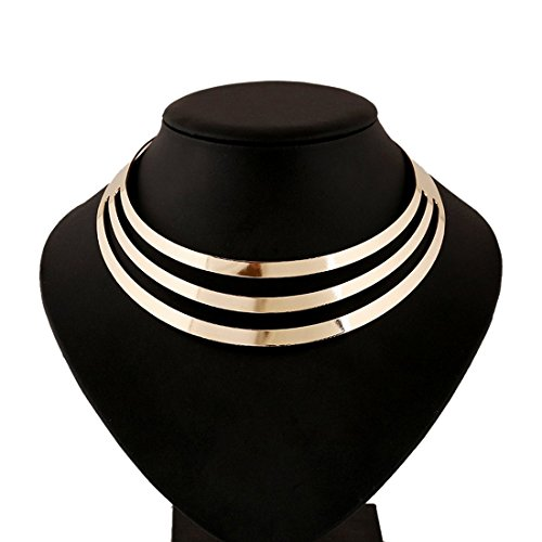 S&Moon Charm Metal Chunky Statement Bib Choker Necklace Jewelry (Gold ()