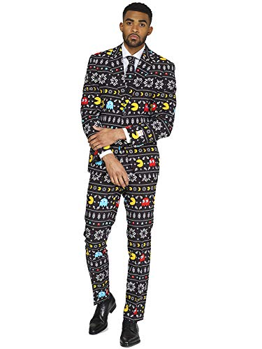 OppoSuits Christmas Suits for Men in Different Prints - Pac-Man - Ugly Xmas Sweater Costumes Include Jacket Pants & Tie - US 36