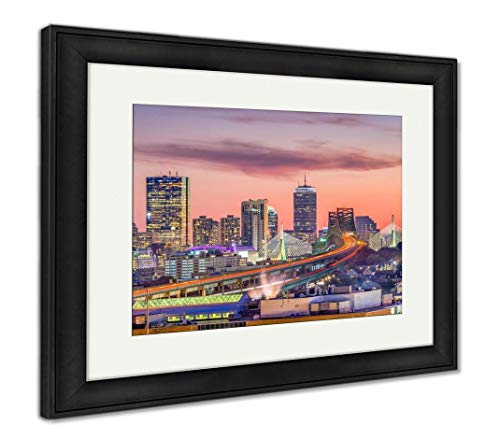Ashley Framed Prints Boston, Massachusetts, USA Skyline, Wall Art Home Decoration, Color, 30x35 (Frame Size), Black Frame, AG32663048